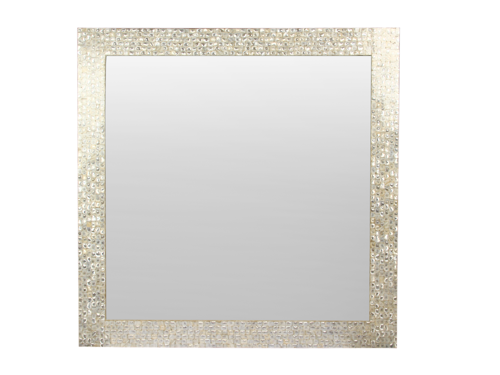 white mother of pearl mirror frame size 3x3
